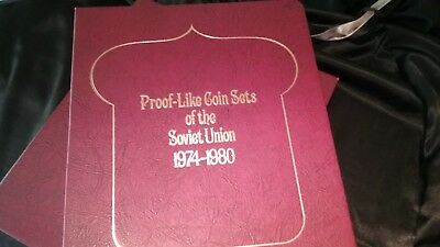 PROOF-LIKE COINS SETS OF THE SOVIET UNION 1974, 75, 76, 77, & 78 w/album