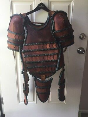 Brown Leather LARP Armor (Torso, Shoulders, Thighs, Groin)