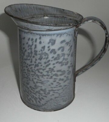 "Vintage Gray Graniteware creamer 6"" pitcher"