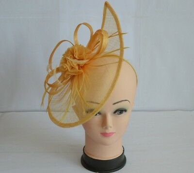 Large Yellow Headband & Clip Hat Fascinator Weddings Ladies Day Race Royal Ascot