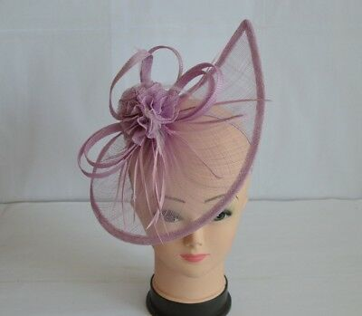 Large Lilac Purple Headband&Clip Fascinator Weddings Ladies Day Race Royal Ascot