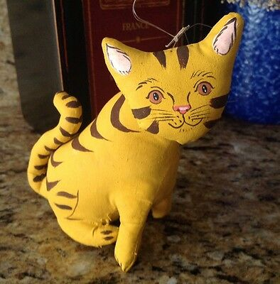 Tabby Cat Stuffed Collectible - Fabric - Hand Made - Imported - Bnwt