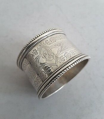 Quality, Engraved Antique Solid Silver Napkin Ring.    Sheffield. 1897.