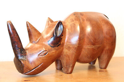 Very Large Hand Carved Solid Hard Wood White Rhino