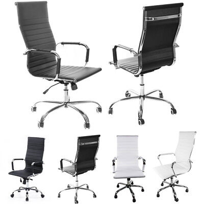 Faux Leather Office Chairs High/Medium Back Task Computer Chair Meeting Room