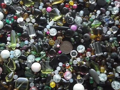 Job lot of mixed sized glass beads over 500 gms