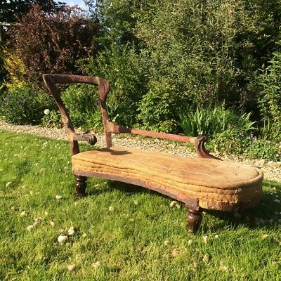 Antique Victorian wood carved chaise longue for reupholstery