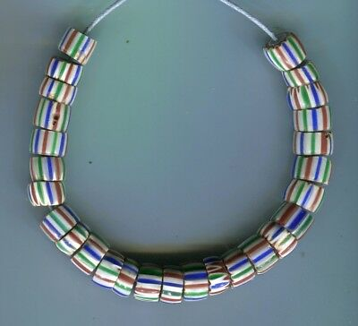 African Trade beads Vintage Venetian glass old 5 layer striped chevrons #4