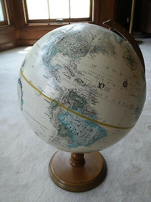 "Vintage Replogle World Classic Desk Globe w/Stand Raised Relief 12""D 17""H Tolman"