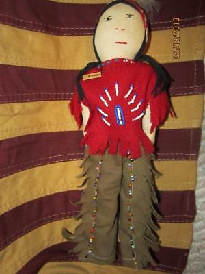 """11"""" Antique or Vintage All Cloth CHEROKEE INDIAN NATIVE AMERICAN DOLL"""