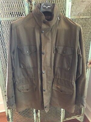 Barbour Sapper Men's Olive Green Waxed Jacket Size Large