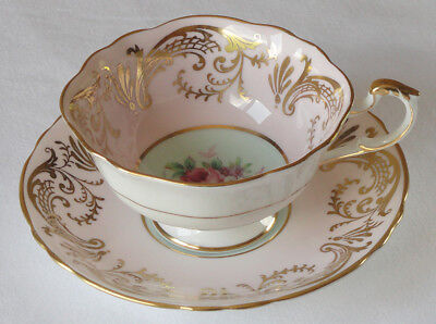 VINTAGE Paragon Bone China Cup and Saucer Set Pale Pink & Green Gold Trim