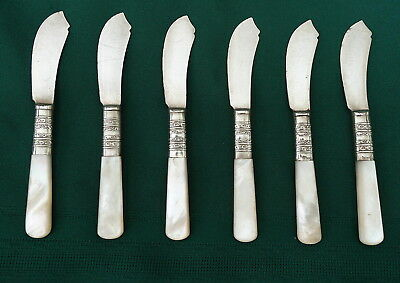 Set of 6 Antique Sterling Individual Spread Knives With  Mother Of Pearl Handles