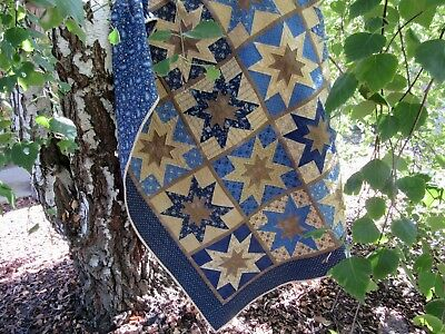 Patchwork Quilt Handmade, star design in shades of blue and tan