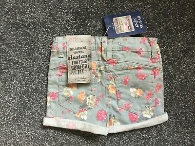 New (£18) Age 3Yrs Girls Blue Floral Cotton Shorts