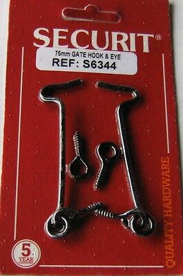 2 pc 75MM HOOK AND EYE (BLACK JAPANNED) NEW