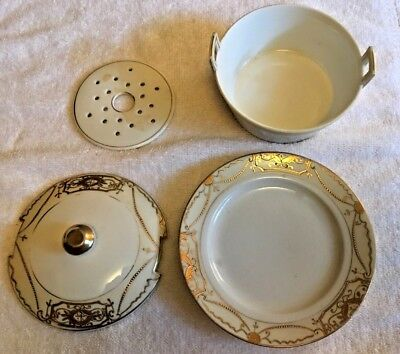 Antique Nippon Mariage Gilt Gold Covered Dish and Plate - Blue Maple Leaf