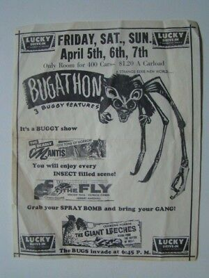 Bugathon The Fly Deadly Mantis Giant Leeches Drive-In Theater Turlock Flyer 1958