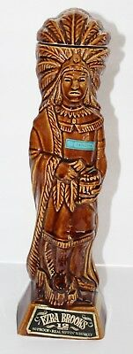 Vintage 1968 Ezra Brooks Cigar Store Indian Empty Whiskey Decanter Bottle