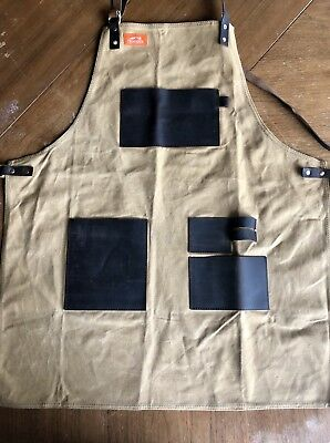 TRAEGER Canvas Heavy Duty ADJUSTABE Leather Barbecue Grill APRON Size L