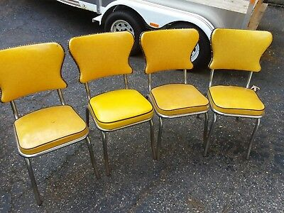 4  50s/60s vintage yellow vinyl kitchen chairs