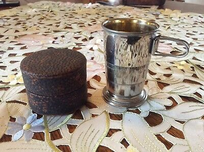 Silver Collapsible Cup Gold Inside Marked Germany R W/ Shield  Antique Vintage
