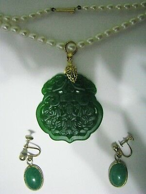 Vtg Chinese Antique Carved Jade Gold Cultured Pearl Pendant Necklace~Earrings