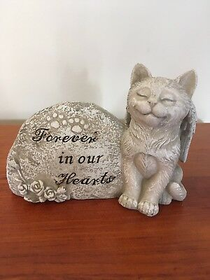 Pet Memorial Cat Grave Marker Stone Statue Plaque Pet Loss Forever in our Hearts