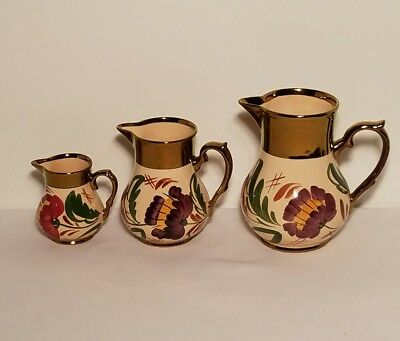 Wade England Set of 3 Floral Harvestware Copper Luster Vases