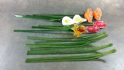 Hand Blown Art Glass Flowers Bouquet Roses Lilies Leaves Murano Style Set Of 11