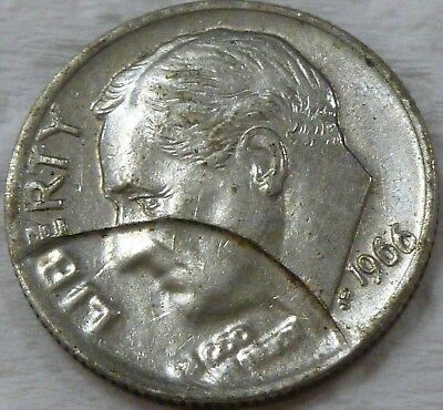 1966 P 10c DIME STRUCK THRU CLAD LAYER / DIE BREAK CUD  ERROR