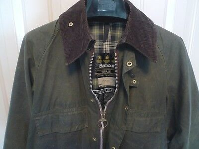 Barbour-  A100 Bedale  Waxed Cotton Jacket- 4 Front Pockets -Rare- Made @ Uk-36