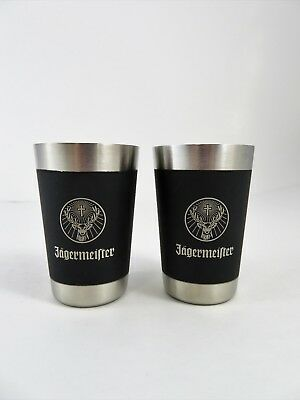 Jagermeister Brushed Stainless Steel Shot Glasses Matching Pair 2 Ounce EUC!