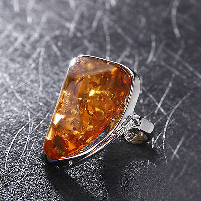 Size 10 Amber Colors Charms Gorgeous Vintage Baltic Antique Silver Ring Jewelry
