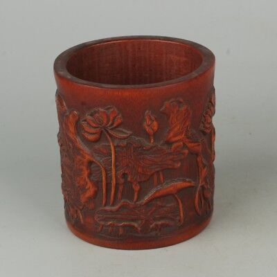 Chinese Exquisite Hand-carved Lotus crane carving bamboo Brush pot