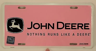 Pink John Deere Car Tag Nothing Runs Like a Deere License Plate Farming Metal