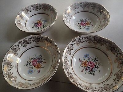 4 Gorgeous Alfred Meakin Fine China Golden Posy Soup Bowls  22K Gold