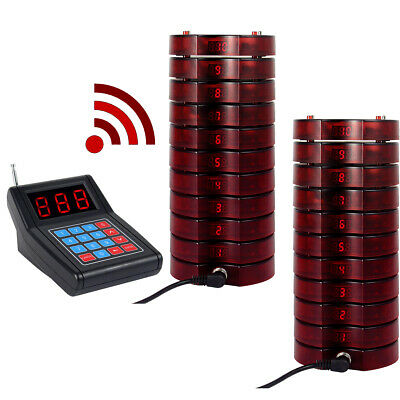 Wireless Restaurant Paging Queuing Call System Transmitter+20*Coaster Pager US