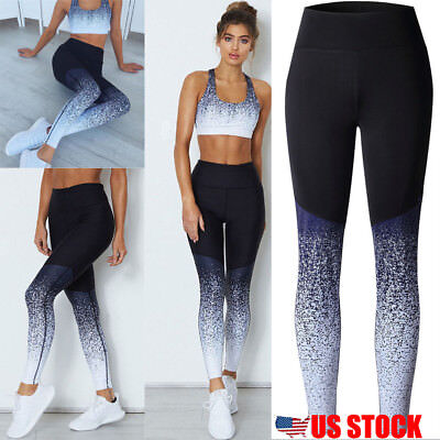 US Women's Sports YOGA Workout Gym Fitness Leggings Pants Athletic Clothes