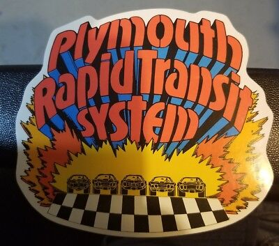"""Plymouth Rapid Transit System Vintage 60's 70's Sticker Decal Approx. 5"""" X 4""""1/2"""