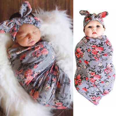 US Newborn Baby Floral Swaddle Blanket Headband with Bow Receiving Blankets Set