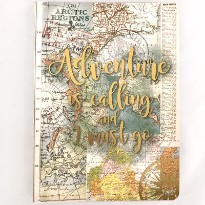 TRAVEL GUIDED JOURNAL | Adventure is Calling I Must Go Map Old World Notebook