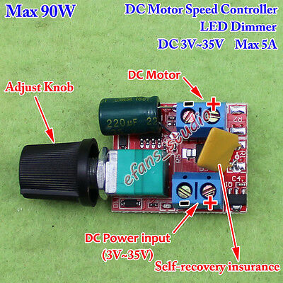 3V~35V 12V 24V 5A PWM DC Motor Speed Controller Adjustable Switch LED Fan Dimmer