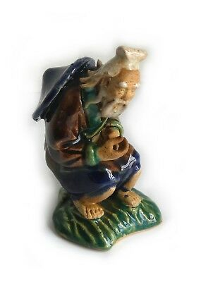 """Vintage CHINESE OLD WISE MAN FIGURINE CLAY GLAZED SEATED Signed 4"""" with POT"""