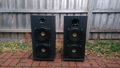 "Speaker Cabinets PA 2x10"" + Horn Pair 100W 1980's Vintage"