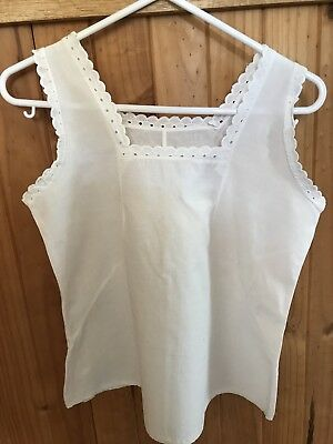 Vintage Cotton And Lace Singlet
