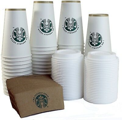 Starbucks White Disposable Hot Paper Cup, 16 Ounce, Sleeves and Lids (Pack of