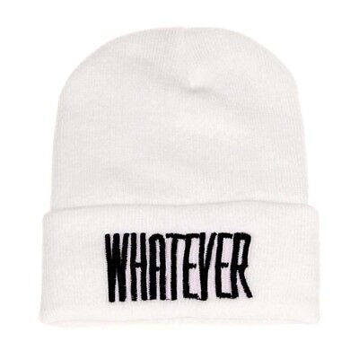 """Winter """"Whatever"""" Beanie Hat And Snapback Men And Women Cap (White) Q3L7"""