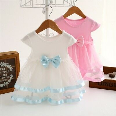 Baby Girl Kid Bow Tulle Tutu Dress Princess Party Outfit Newborn Clothes Tops US