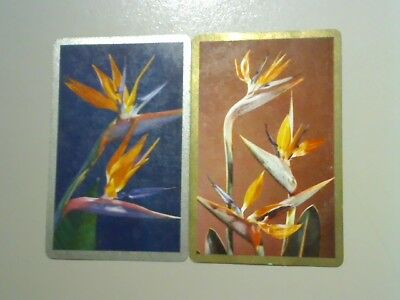 2 Swap/Playing Cards - Pair Flowers (Silver/Gold Borders)#